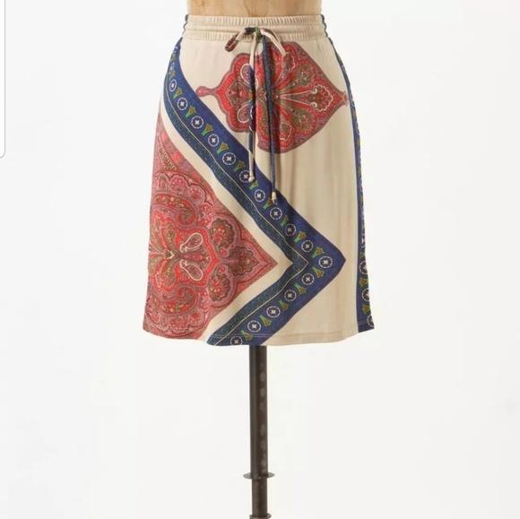 Anthropologie Dresses & Skirts - Leifnotes Silky Drawstring Paisley Skirt